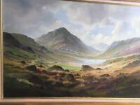 Large Framed Oil Painting by RB Higgins