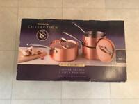 Sainsbury's Collection Copper Triply Saucepan Set x3