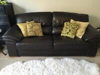 3 seater dark brown leather sofa - FREE