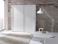 Brand New Modern High Quality 2 Sliding Door Large Wardrobe LONDON White 180