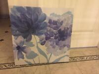 Blue and purple floral Next canvas