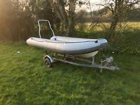 3.2m hand built rib with galvanised snipe trailer