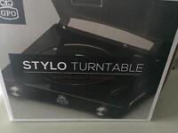 Black GPO Stylo Turntable record player & Speakers