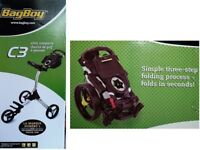 BAGBOY COMPACT C3 PUSH CART 3 WHEEL ADJUSTABLE GOLF TROLLEY Rrp £175
