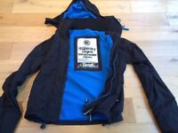 Superdry Windcheater Jacket with hood. Black with blue lining. Size - small