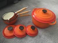 Cast iron pan set & large casserole pot