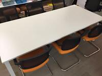 White Conference Table with 6 Chairs