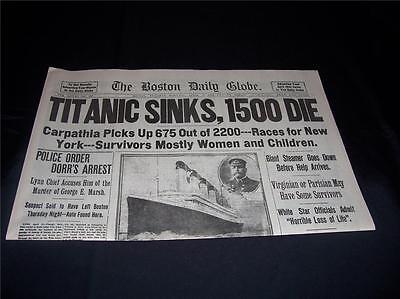 Titanic Boston Globe 1912 Newspaper  Marsh Murder Story  Ty Cobb Quits Team