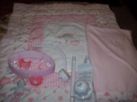 MOTHERCARE LITTLE BIRD AND ROSEBUD COT BEDDING AND MUSICAL MOBILE