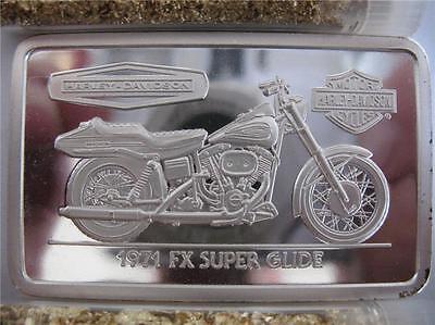 1.4-OZ.999 PURE SILVER 1971 FX SUPER GLIDE HARLEY DAVIDSON 90TH ANNIV BAR + GOLD