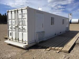 Sea-Can Office! Very Good condition - 40' skidded - skylights, windows, solor panels, propane heater,