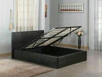 👌BRAND NEW💕 4FT6 DOUBLE FAUX LEATHER GAS LIFT DOUBLE STORAGE FRAME WITH CHOICE OF MATTRESS