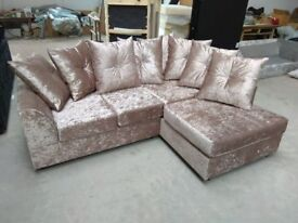 NEW R/H MINK CRUSHED VELVET CORNER SOFA INCLUDES FREE DELIVERY & FREE MATCHING STOOL FOR £279.99