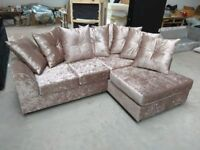 New R H Mink Crushed Velvet Corner Sofa Includes Free Delivery Matching Stool