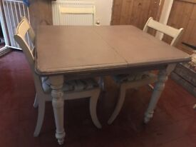 Dining table and 4 chairs shabby chic rustic