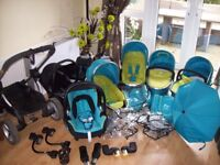 RARE ICANDY SWEET PEA DOUBLE TRAVEL SYSTEM PUSHCHAIR,CARRYCOTS,CAR SEATS,BASES,AND SEAT UNITS + MORE