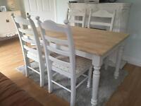 Amazing 5ft Shabby Chic Chunky Farmhouse Oak Table and 4 Lovely Chairs