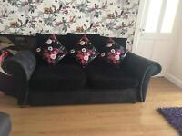 Black fabric And suede scatter back sofas