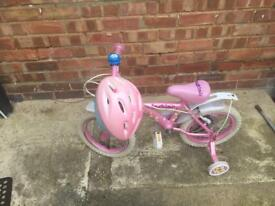Girls bike with helmet
