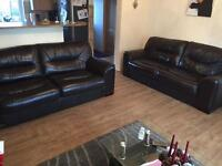 Dark brown genuine leather 2 x 3 seater sofas from SCS