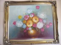 """OIL PAINTING BY R.COX,"""" FLOWER'S IN A VASE"""" SIGNED"""