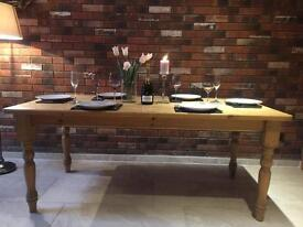 Large solid and chunky farmhouse dining table
