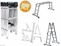 PROPLUS Ladder 4 Section Hinged Aluminum Multi Ladder Metal Stabilers