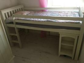 Single high bed with under table