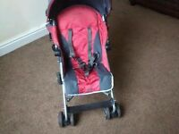 Mclaren foldable pushchair, stroller, lockable wheels, brakes, foam handles, rain cover, As New