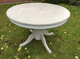 Large painted solid wooden pedestal table