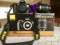 Nikon D60 Digital SLR Camera - With 18-55 lens and accessories.