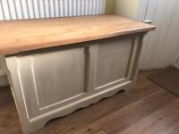 Refurbished Large Solid Pine Blanket Box/Chest/Ottoman