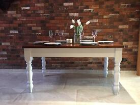 Large farmhouse solid and chunky table