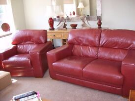 Leather suite- Burgundy 3 seater, 2 seater & armchair. Excellent condition