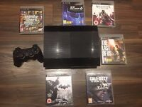 LIKE NEW Sony Playstation 3 Super Slim 500gb With 6 Games and Controller