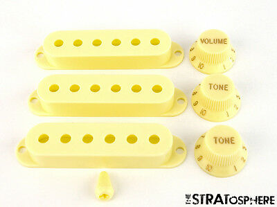 *NEW Aged White ACCESSORY KIT Pickup Covers Knobs for Fender Stratocaster Strat