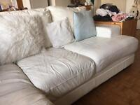 DFS white leather corner sofa