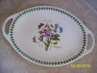 New & Boxed Portmeirion Botanic Garden Oval Platter (with Handles) 18""