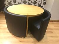 Dwell designing Dining table & 4 faux leather chairs. Mint condition. Was £1100.