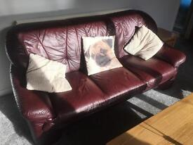 Leather 3/4 seater sofa