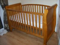 BABIES R US OAK SLEIGH COT BED +/- VIRTUALLY NEW MATTRESS AND FREE GIRLS OR BOY BEDDING SET