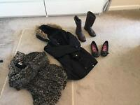 FREE. Girls clothes age 6-8 Shoes, Coat, School Shirts (6) &a Dresses