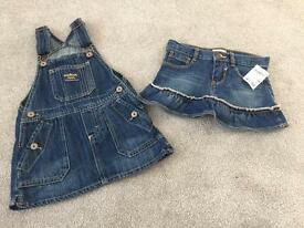 Oshkosh denim dress and skirt