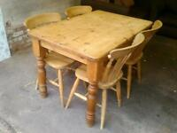Sorry now sold. Solid wooden pine dining table and chairs for sale.
