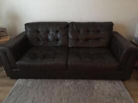 Large DFS Brown Leather Sofa