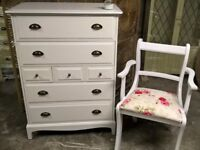 Stag Tallboy chest of 7 drawers hand painted with matching bedroom chair