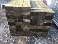 """🌲WOODEN PRESSURE TREATED POSTS •NEW• 6""""X 3""""X 7Ft🌳"""