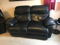 Double Black Reclining Sofa & 2 Single Recliners