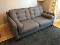 Grey fabric metal frame sofa bed