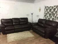 Real leather Recliners 3+2 seater sofas**Free delivery**